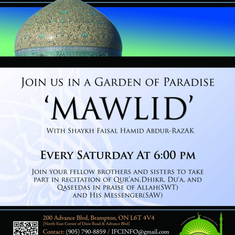 Saturday Mawlid at the Islamic Forum of Canada